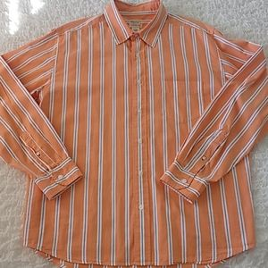 American Eagle Outfitters Orange Stripe Shirt L